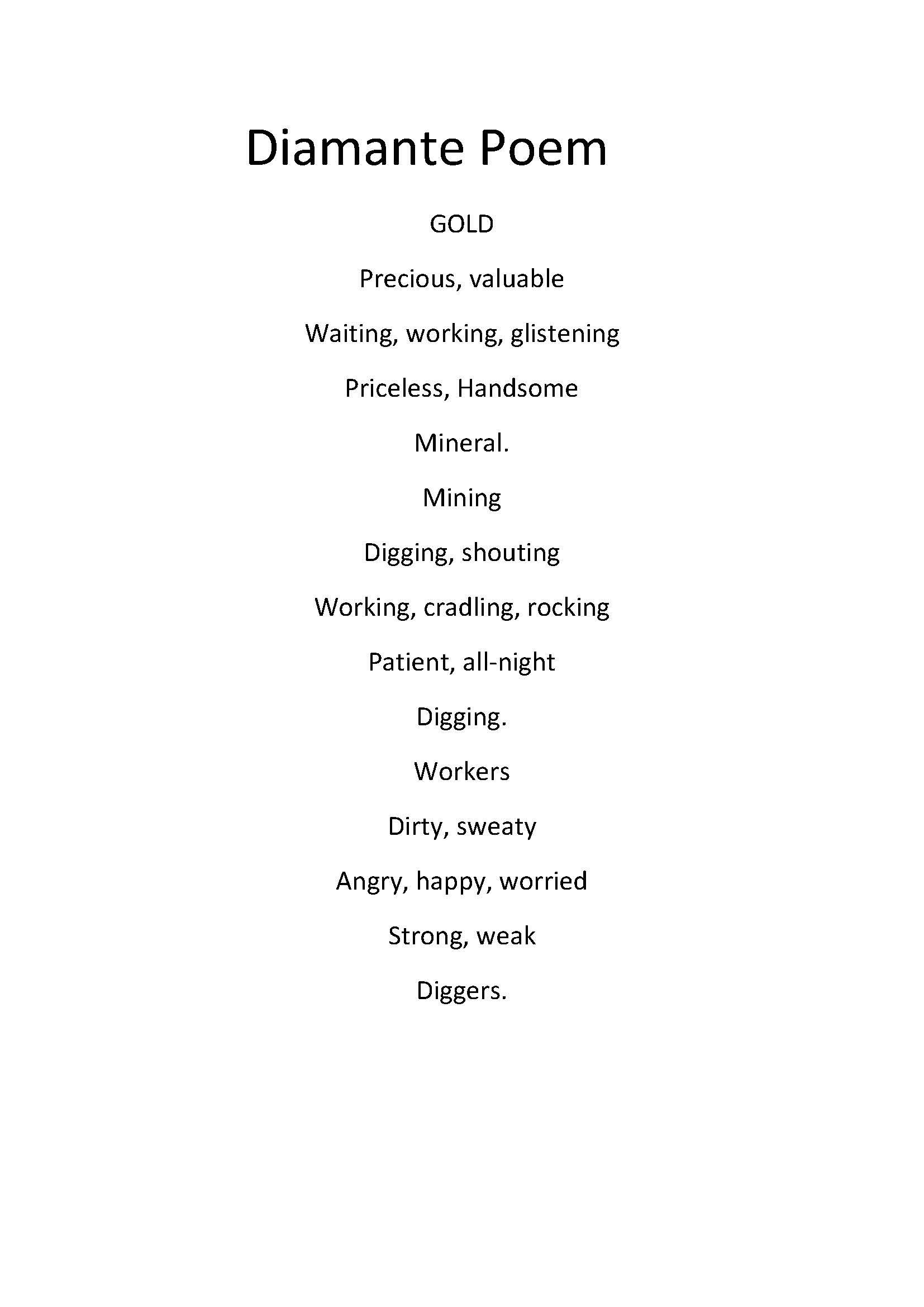 diamante poems years 5  6
