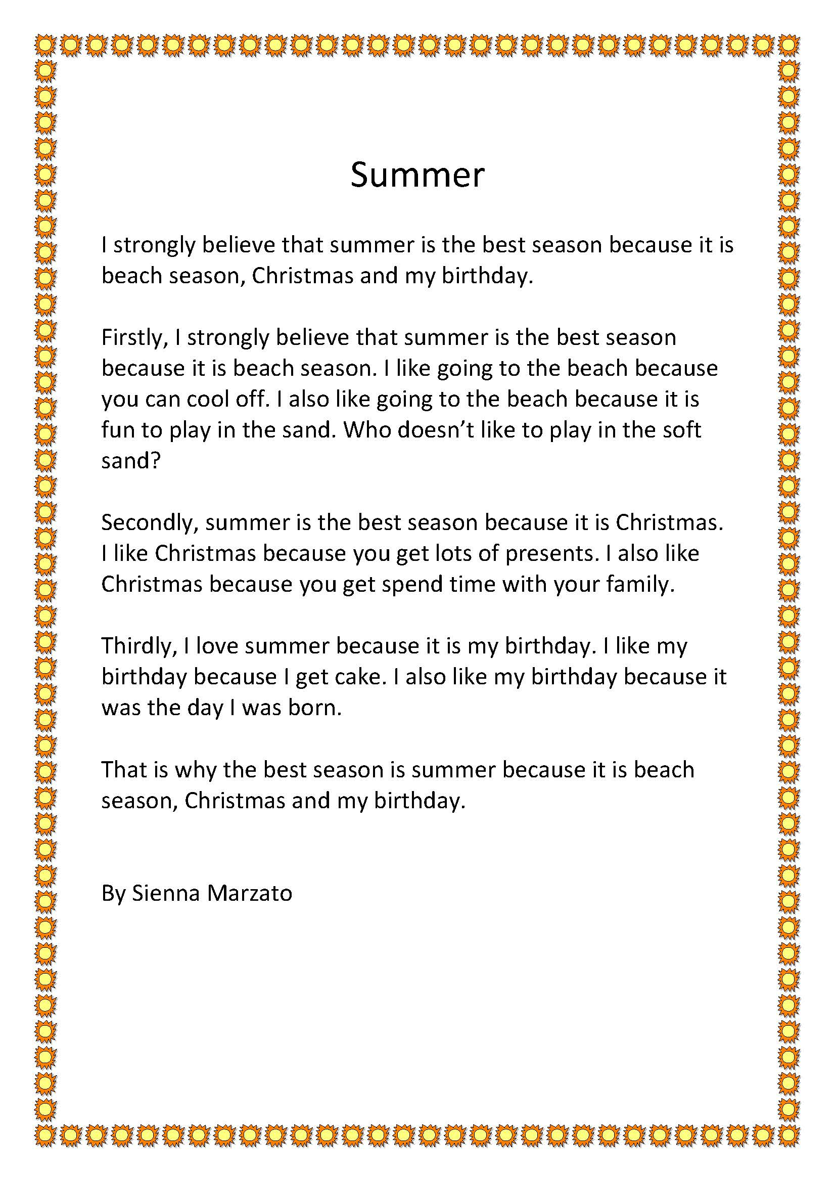 My favourite season essay